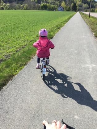 Oldest enjoying going on bike rides with Mummy!