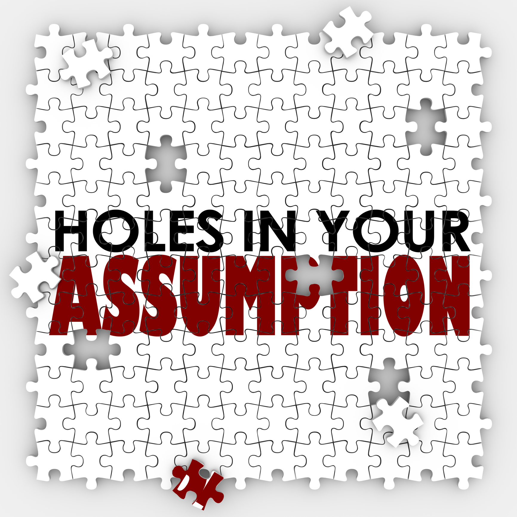 Hole In Your Assumption Puzzle Pieces Bad Wrong Guess
